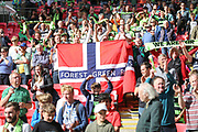 Forest Green Rovers Norwegian supporters during the Vanarama National League Play Off Final match between Tranmere Rovers and Forest Green Rovers at Wembley Stadium, London, England on 14 May 2017. Photo by Shane Healey.