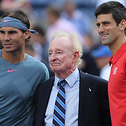 Tennis legend Rod Laver with Rafael Nadal, Spain, and Novak Djokovic, Serbia, before the Men's Singles Final at the US Open, Flushing. New York, USA. 9th September 2013. Photo Tim Clayton