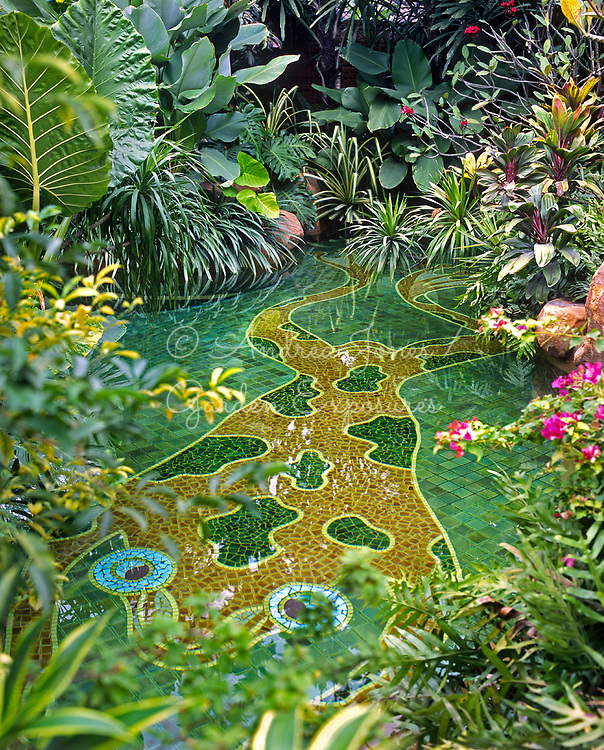 Swimming pool with mosaic tiled frog design and surrounded by tropical planting. Bensley Design Studios, Bangkok, Thailand