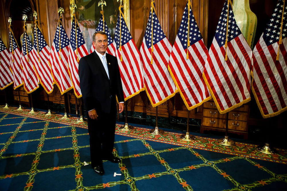 Speaker John Boehner (R-OH) awaits the beginning of a ceremonial swearing in for new members of Congress on Capitol Hill on Wednesday, January 5, 2011 in Washington, DC.