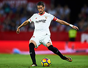 SEVILLE, SPAIN - OCTOBER 28:  Sergio Escudero of Sevilla FC in action during the La Liga match between Sevilla and Leganes at  Estadio Sanchez Pizjuan on October 28, 2017 in Seville, .  (Photo by Aitor Alcalde Colomer/Getty Images)