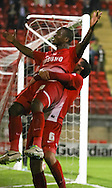 Picture by David Horn/Focus Images Ltd +44 7545 970036<br /> 17/09/2013<br /> Kevin Lisbie of Leyton Orient celebrates scoring  the opening goal  with Mathieu Baudry during the Sky Bet League 1 match at the Matchroom Stadium, London.