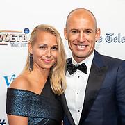 NLD/Hilversum/20190902 - Voetballer van het jaar gala 2019, Arjen Robbben en partner Bernadien Eillert