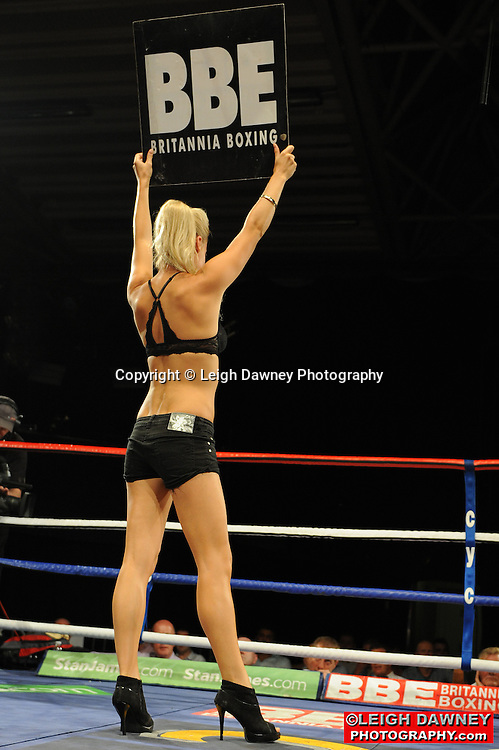 Ring Girls displaying sponsors round cards at the Doncaster Dome, Doncaster on 2nd July 2010. Frank Maloney Promotions. Photo credit: © Leigh Dawney
