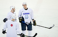 Jan Mursak and Jan Urbas during practice session of Slovenian Ice Hockey National Team at training camp, on February 8th, 2016 in Ledna dvorana, Bled, Slovenia. Photo by Vid Ponikvar / Sportida