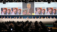 MONACO - DECEMBER 08:  IOC President Thomas Bach speaks to the Committee during board meeting with (L-R) C. Reedie, J. Rogge, C. DE Kepper, N. El Moutawakel, J. D Coates, G. Lindberg, R. Fasel and C. Bokel during the 127th IOC Session at the Grimaldi Forum on December 8, 2014 in Monaco, Monaco.  (Photo by Tony Barson/Getty Images)