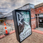 The recently installed Douglas DC-3 airplane at the Roasterie Coffee building on 27th Street, Kansas City, Missouri.