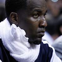 16 March 2011: Oklahoma City Thunder center Kendrick Perkins (5) is seen on the bench during the Oklahoma City Thunder 96-85 victory over the Miami Heat at the AmericanAirlines Arena, Miami, Florida, USA.
