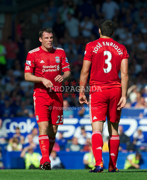 LIVERPOOL, ENGLAND - Saturday, October 1, 2011: Liverpool's Jamie Carragher and Jose Enrique during the Premiership match against Everton at Goodison Park. (Pic by David Rawcliffe/Propaganda)
