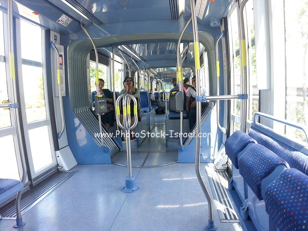 Israel, Jerusalem inside the Light Train rapid urban transport system