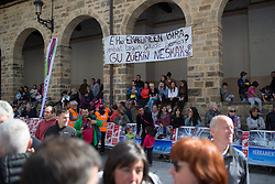 Spectators enjoy the podium ceremony of Stage 3 of the Emakumeen Bira - a 77.6 km road race, starting and finishing in Antzuola on May 19, 2017, in Basque Country, Spain. (Photo by Balint Hamvas/Velofocus)