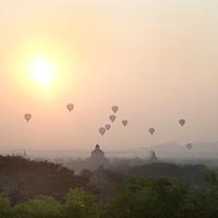 Myanmar (Burma). Bagan. Sunrise from Law-ka-ou-Haung pagoda