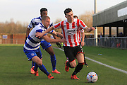 Luke Coulson and Ryan Jennings during the FA Trophy match between Oxford City and Cheltenham Town at Court Place Farm, Oxford, United Kingdom on 16 January 2016. Photo by Antony Thompson.