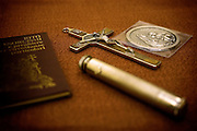 A Cross, the Holy Water, a Medal and the Exorcisms' Book from the Catholic Church are found in the sacristy of The Church of San Claudio, in Rome, Italy, where Father Igino Troiani, 77, normally carries out exorcisms. He has been an exorcist for around five years.<br /> <br /> FOR MORE INFORMATION PLEASE WRITE TO ALEX@ALEXMASI.CO.UK<br /> <br /> **TEXT AND LENGHTY INTERVIEWS AVAILABLE**