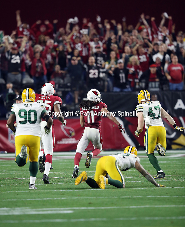Fans cheer wildly in the background as players from both teams give chase as Arizona Cardinals wide receiver Larry Fitzgerald (11) catches an overtime pass good for a 75 yard gain and a first down and goal to go at the Packers 5 yard line, setting up the winning touchdown, during the NFL NFC Divisional round playoff football game against the Green Bay Packers on Saturday, Jan. 16, 2016 in Glendale, Ariz. The Cardinals won the game in overtime 26-20. (©Paul Anthony Spinelli)