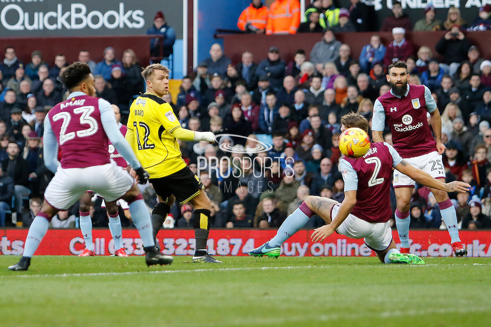 Burton Albion striker Jamie Ward (12) can't get a touch for a shot on goal during the EFL Sky Bet Championship match between Aston Villa and Burton Albion at Villa Park, Birmingham, England on 26 December 2016. Photo by Richard Holmes.