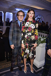 Sabrina Percy and Phineas Page at reception to celebrate the launch of the Claridge's Christmas Tree 2017 at Claridge's Hotel, Brook Street, London England. 28 November 2017.