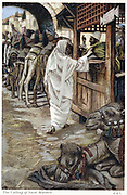 Christ calling Matthew, the tax collector to follow him. From JJ Tissot 'The Life of Our Saviour Jesus Christ' c1890. Oleograph