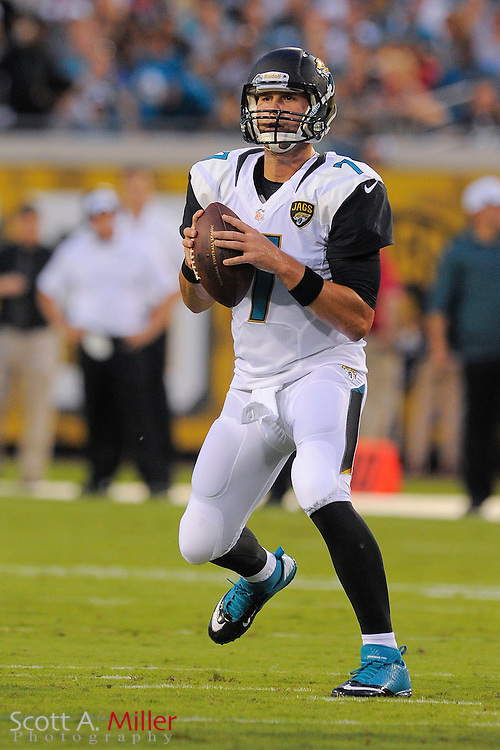 Jacksonville Jaguars quarterback Chad Henne (7) during a preseason NFL game against the Philadelphia Eagles at EverBank Field on Aug. 24, 2013 in Jacksonville, Florida. The Eagles won 31-24.<br /> <br /> &copy;2013 Scott A. Miller