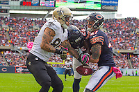 06 October 2013: Wide receiver (84) Kenny Stills of the New Orleans Saints knocks the ball down from being intercepted by (47) Chris Conte of the Chicago Bears during the first half of the Saints 26-18 victory over the Bears in an NFL Game at Soldier Field in Chicago, IL.