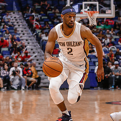 Oct 3, 2017; New Orleans, LA, USA; New Orleans Pelicans guard Ian Clark (2) against the Chicago Bulls during a NBA preseason game at the Smoothie King Center. The Bulls defeated the Pelicans 113-109. Mandatory Credit: Derick E. Hingle-USA TODAY Sports