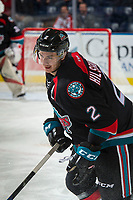KELOWNA, CANADA - OCTOBER 4: James Hilsendager #2 of the Kelowna Rockets warms up against the Victoria Royals on October 4, 2017 at Prospera Place in Kelowna, British Columbia, Canada.  (Photo by Marissa Baecker/Shoot the Breeze)  *** Local Caption ***
