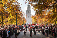 War Memorial Park, Coventry, UK. 12th November 2017.  Pictured: Military bandsmen take part in a parade after the Service of Remembrance at the War Memorial.  / Hundreds of people gather at Coventry's War Memorial Park for the annual Remembrance Sunday service which featured a parade, hymns, readings and the laying of wreaths. The service was led by The Right Reverend Dr Christopher Cocksworth, the Lord Bishop of Coventry, with this year playing host to 8 visitors from Kiel, Germany, to honour the 50th anniversary of twinning of the city of Coventry and Kiel, as well as 70 years of friendship between the two cities. About 1,200 people died in raids that destroyed most of the city centre on 14 November 1941 which was also pounded by heavy raids on the nights of 8, 9, 10 and 11 April, 1941. // Lee Thomas, Tel. 07784142973. Email: leepthomas@gmail.com  www.leept.co.uk (0000635435