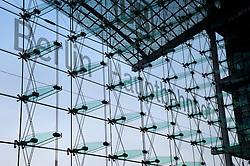 Glass curtain wall at entrance to Berlin Hauptbahnhof railwary tation in Berlin 2009