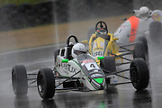 Te Puke's Michael Scott leads Invercargill's Brendon Leitch during the second Formula Ford race at the CRC 200 at Timaru International Motor Raceway on 22 January 2012. The CRC 200 is part of the New Zealand Premier Race Championship Series.