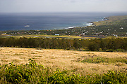 Aerial view of coastline and airport, Easter Island