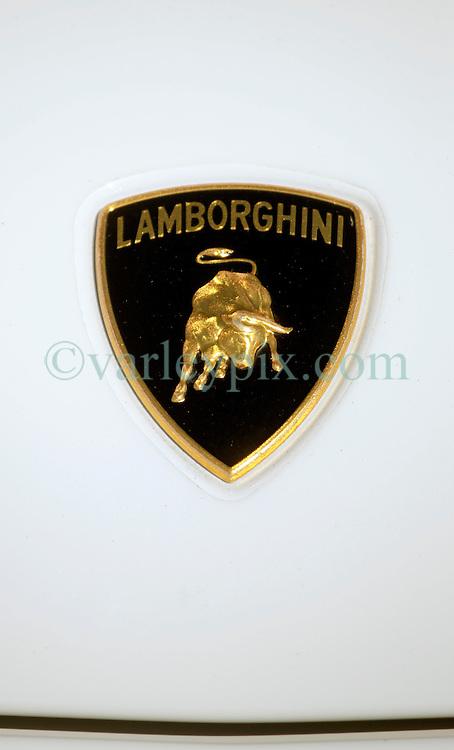 26 October 2013. New Orleans, Louisiana. <br /> Close up of a Lamborghini badge at the NOLA Motorsports Park.<br /> Photo; Charlie Varley<br /> varleypix.com