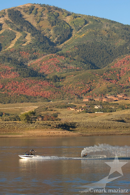 water skiing or wakeboarding on Jordanelle Reservoir, Utah