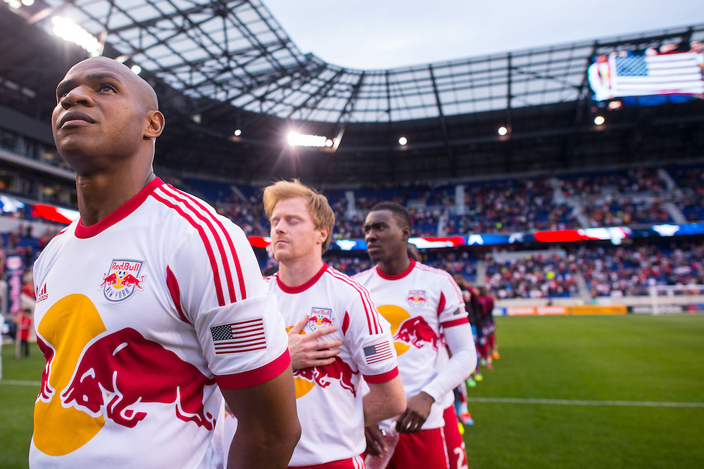 HARRISON, NJ - MAY 10:  Members of the New York Red Bulls look on before the match against the Chicago Fire  at Red Bulls Arena on May 10, 2014. (Photo By: Rob Tringali)