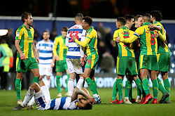 West Bromwich Albion celebrate at the final whistle during the Sky Bet Championship match at Loftus Road, London.