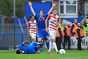 PENALTY Kgosi Nthle is fouled in the area during the EFL Sky Bet League 1 match between Rochdale and Doncaster Rovers at Spotland, Rochdale, England on 13 October 2018.