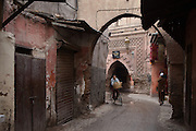 Riding a bicycle through the Kasbah of Marrakesh.