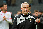 MK Dons Caretaker Manager Keith Millen looking disappointed on the lap of appreciation by the MK Dons players after the EFL Sky Bet League 1 match between Milton Keynes Dons and Scunthorpe United at stadium:mk, Milton Keynes, England on 28 April 2018. Picture by Nigel Cole.