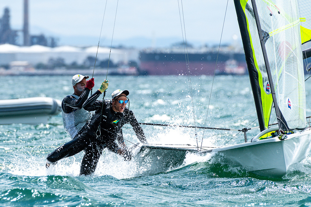 Will and Sam Phillips from Australia compete in windy conditions on Race Day 3. The 2020 Oceania Championship will serve as the warm up event for the 2020 World Championships in Geelong, Australia. 2nd February 2020. Photo: Drew Malcolm Photography.