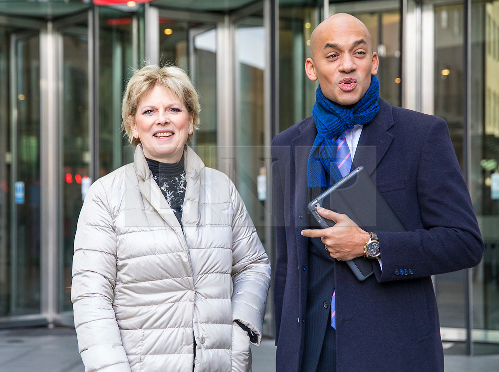 © Licensed to London News Pictures. 11/02/2018. London, UK. Anna Soubry MP (L) and Chuka Umuna MP (R) leave BBC Broadcasting House together. Photo credit: Rob Pinney/LNP