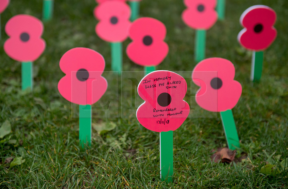 "© Licensed to London News Pictures. 27/10/2018. Bristol, UK. The Royal British Legion launch this year's Bristol Poppy Appeal, ""One thousand poppies, for one hundred years, for one million lives"" at Bristol Cathedral. For the launch of the 2018 Bristol Poppy Appeal at 11am on 27 October, the Royal British Legion recreated a scene from the end of WW1 outside Bristol Cathedral on College Green, and Colonel Clive Fletcher-Wood read the war poem In Flanders Fields. They were joined by Civic Dignitaries Peaches Golding the Lord Lieutenant of Bristol, City of Bristol High Sheriff Mr Roger Opie, and Bristol's Lord Mayor Cleo Lake. A Bugler and the Bristol Military Wives Choir performed songs from their new album 'Remember'. Staff at MOD Filton filled 400 sandbags with eight tonnes of sand to build trenches and recreate 'Flanders Fields' and planted over 1000 waterproof poppies on College Green. Poppies and sandbags can be sponsored by individuals wanting to remember those who fought and died in conflict. There were re-enactors in WW1 uniform from Somerset Light Infantry (known as the West Country Tommys), as well as medics and nurses with equipment from the time. Bristol's own 'War Horse' (Buzz from Blagdon Horsedrawn Carriages) was on College Green behind the improvised barbed wire to represent the 350,000 horses that left Avonmouth for the frontline during WW1. There are also 10,000 knitted poppies on display both in and outside Bristol Cathedral following 'The Charfield Yarn Bombers' incitement to locals to get knitting to mark the occasion, with a display inside the Cathedral organised by Helen Date. Photo credit: Simon Chapman/LNP"