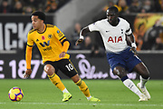 Wolverhampton Wanderers forward Helder Costa (10) escapes Moussa Sissoko of Tottenham Hotspur (17) during the Premier League match between Wolverhampton Wanderers and Tottenham Hotspur at Molineux, Wolverhampton, England on 3 November 2018.