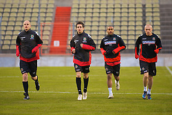 LUXEMBOURG CITY, LUXEMBOURG - Tuesday, March 25, 2008: Wales' Stephen Roberts, Brian Stock, Jermaine Easter  and David Cotterill during training at the Stade Josy Barthel ahead of the International Friendly match against Luxembourg. (Photo by David Rawcliffe/Propaganda)