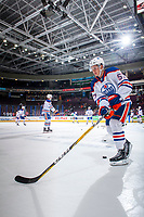 PENTICTON, CANADA - SEPTEMBER 9: Kirill Maksimov #57 of Edmonton Oilers warms up with the puck against the Winnipeg Jets on September 9, 2017 at the South Okanagan Event Centre in Penticton, British Columbia, Canada.  (Photo by Marissa Baecker/Shoot the Breeze)  *** Local Caption ***