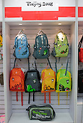 2008 Olympic Games rucksacks in souvenir shop, Wangfujing Street, Beijing, China
