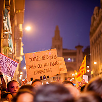 Tuesday, 03 October 2017. Barcelona, Catalonia.  Catalan referendum. People gathered in Barcelona. People protesting in front of the Policia National police station at Via Laietana, one of the biggest police stations in Catalonia.<br /> As a reaction for the brutality of the spanish police and to support the results of referendum a general strike was decalred on Tuesday 3rd of October 2017.