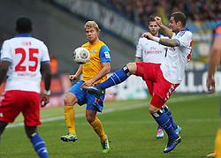 Football: Germany, 1. Bundesliga<br /> Jan Hochscheid (Eintracht Braunschweig), Pierre-Michel Lasogga (Hamburger SV, HSV)