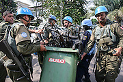 Peacekeepers collecting weapons from Kinshasa following clashes on 23 march 2007.<br /> Photo by Martine Perret/