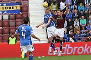 Sam Nicholson attacks the goal kick during the Ladbrokes Scottish Premiership match between Heart of Midlothian and St Johnstone at Tynecastle Stadium, Gorgie, Scotland on 2 August 2015. Photo by Craig McAllister.