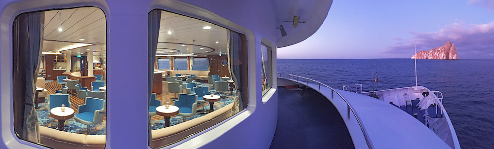 National Geographic Endeavour II and lounge at Leon Dormido in the Galapagos Islands, Ecuador.
