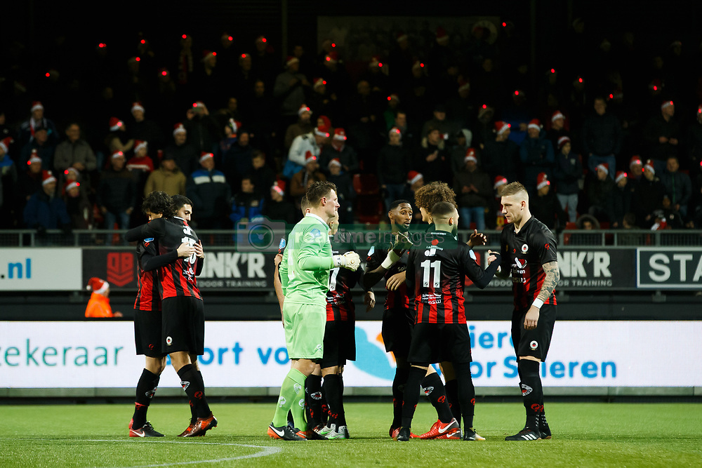 (L-R) Jurgen Mattheij of Excelsior, Hicham Faik of Excelsior, goalkeeper Theo Zwarthoed of Excelsior, Jeffry Fortes of Excelsior, Stanley Elbers of Excelsior, Wout Faes of Excelsior, Jordy de Wijs of Excelsior during the Dutch Eredivisie match between sbv Excelsior Rotterdam and FC Twente at Van Donge & De Roo stadium on December 23, 2017 in Rotterdam, The Netherlands